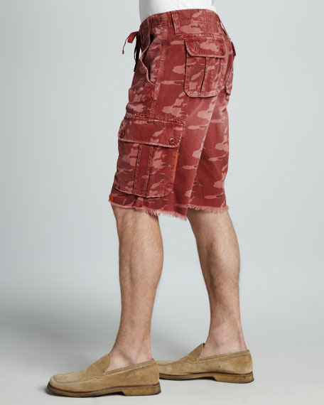 Recon Camouflage Cargo Shorts, Red Sky