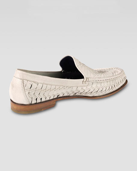 Air Tremont Woven Leather Loafer, White