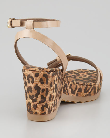 Leopard-Print Cork Ankle-Wrap Wedge, Desert