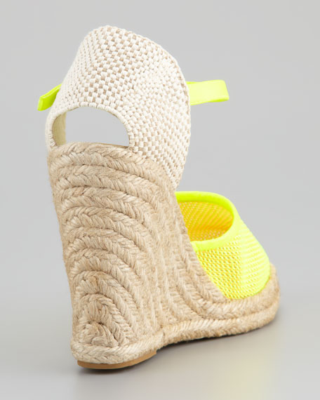 Canvas Espadrille Wedge Platform Heel, Green/Orange