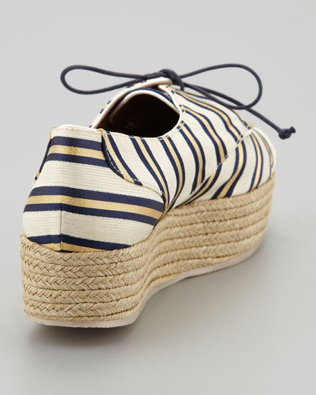 Florence Tie-Striped Platform Espadrille Sneaker, Gold/Navy