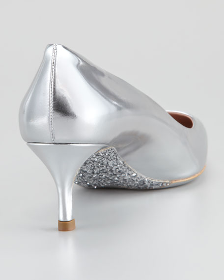 Metallic Leather Glitter-Sole Pump