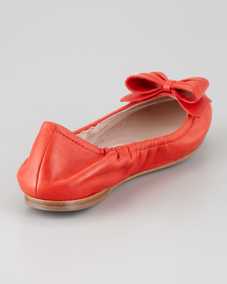 Napa Leather Bow Scrunch Flat