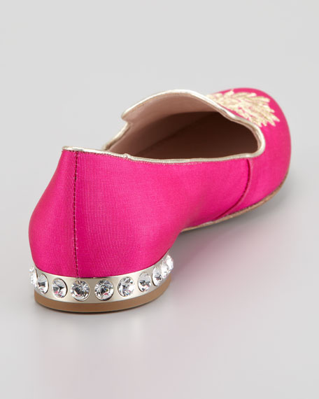 Crystal Heel Embroidered Fabric Smoking Slipper