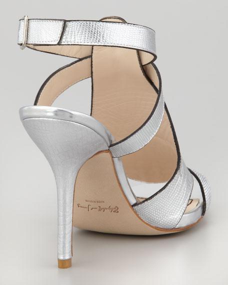 Tango Metallic Lizard-Embossed Sandal, Pewter