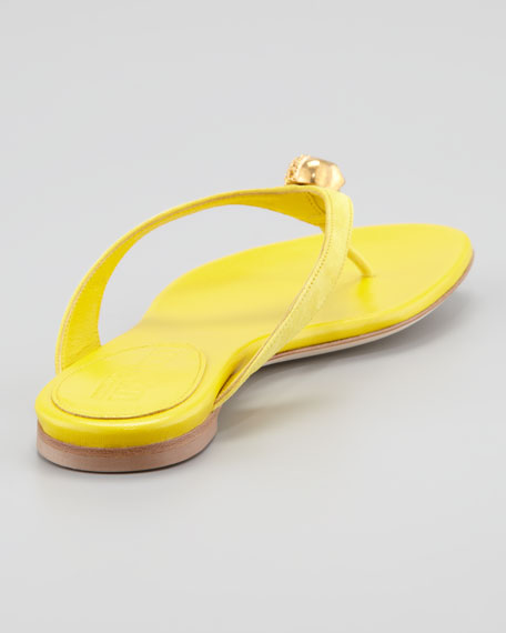 Skull-Detail Suede Thong Sandal, Yellow