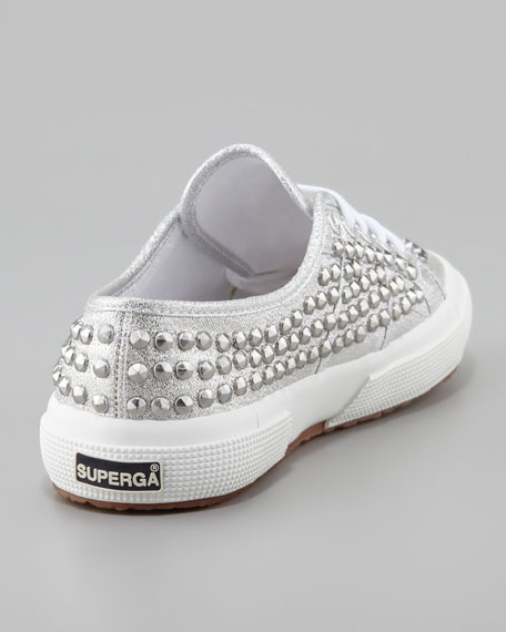 Studded Metallic Canvas Sneaker, Silver