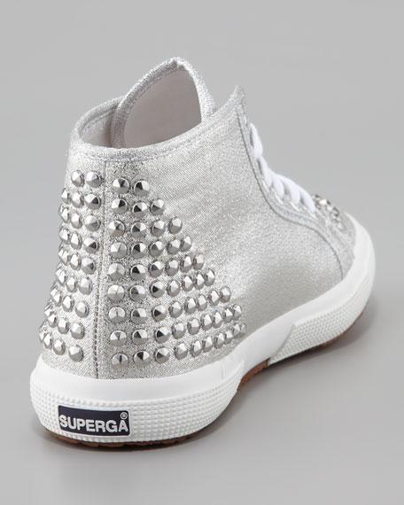Studded Metallic Canvas Hi-Top Sneaker, Silver