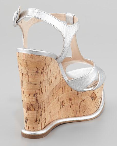 Saffiano T-Strap Cork Wedge Sandal