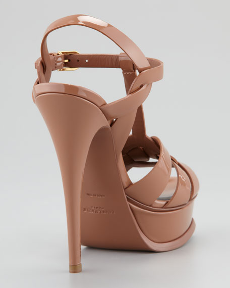 Tribute Patent Leather Sandal, Dark Nude