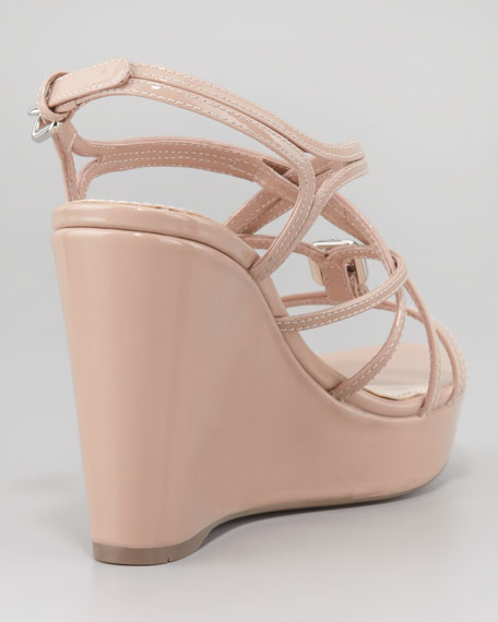 Crisscross Patent Leather Wedge Platform Sandal, Nude