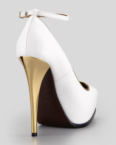 Golden-Heel Ankle-Wrap Pump