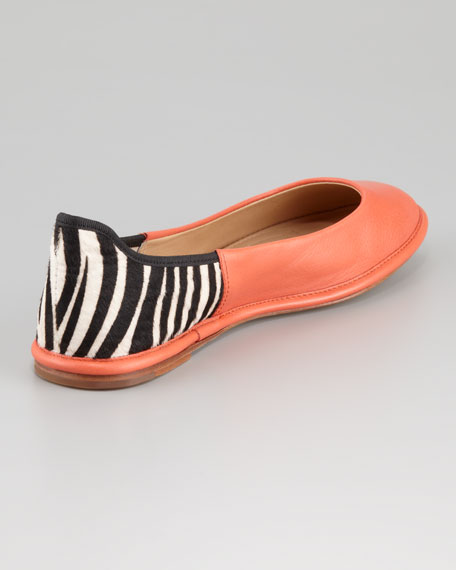 Botswana Leather & Calf Hair Ballerina Flat