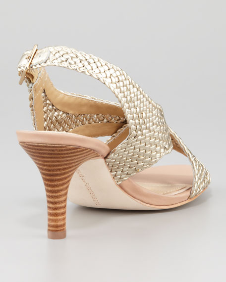 Vita Metallic Woven Leather Sandal
