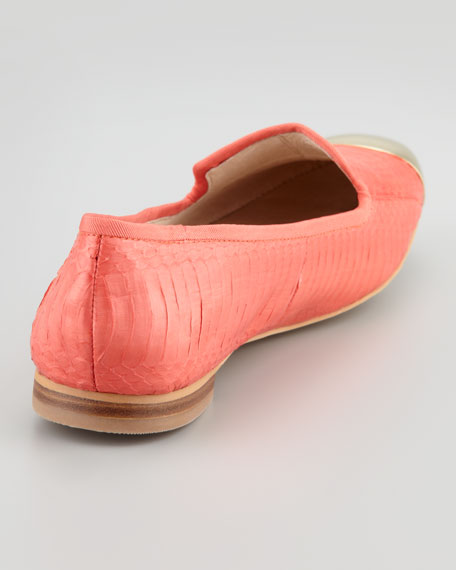 Aster Snakeskin Cap-Toe Smoking Loafer, Persimmon
