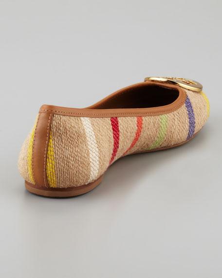 Reva Striped Linen Ballet Flat, Tan Multi