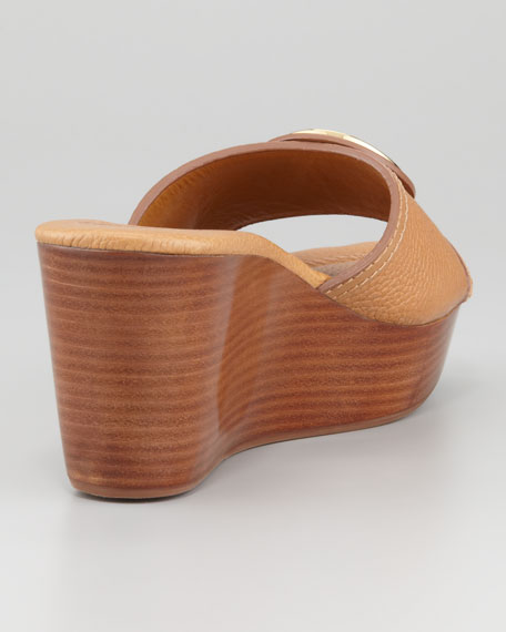 Selma Logo Wedge Slide, Tan