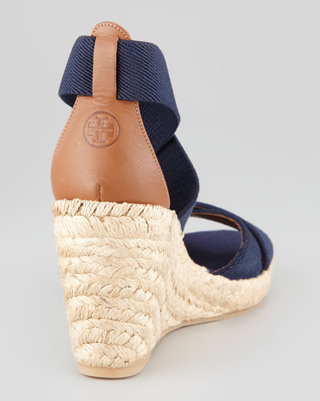 Adonis Stretch Espadrille Wedge, Navy