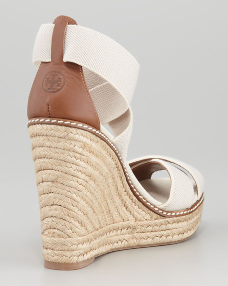Adonis Stretch Espadrille Wedge, Tan