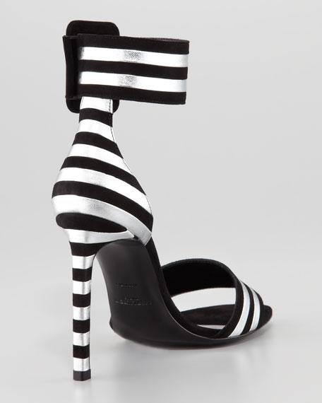 Paloma Striped Ankle-Strap Sandal