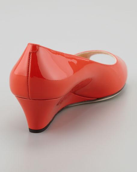 Bergen Peep-Toe Patent Wedge, Tangerine