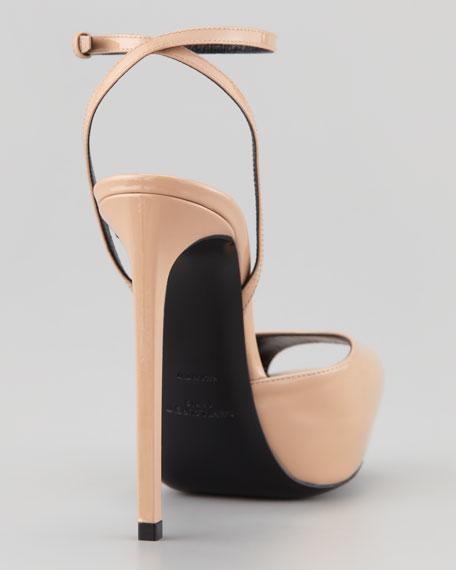 Debbie Patent Peep Toe Platform Sandal, Nude