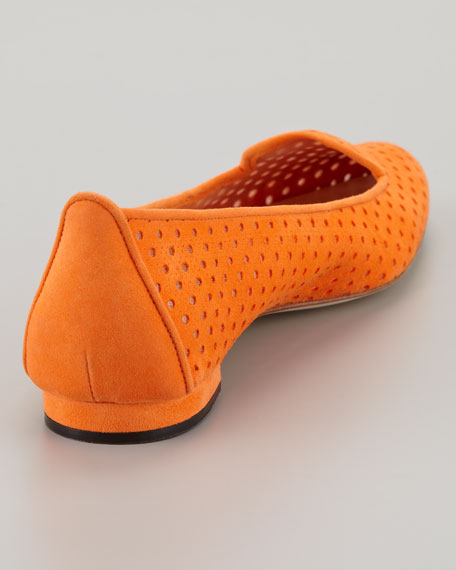 Sharifac Perforated Suede Flat, Orange