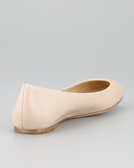 Lara Leather Ballerina Flat, Camel