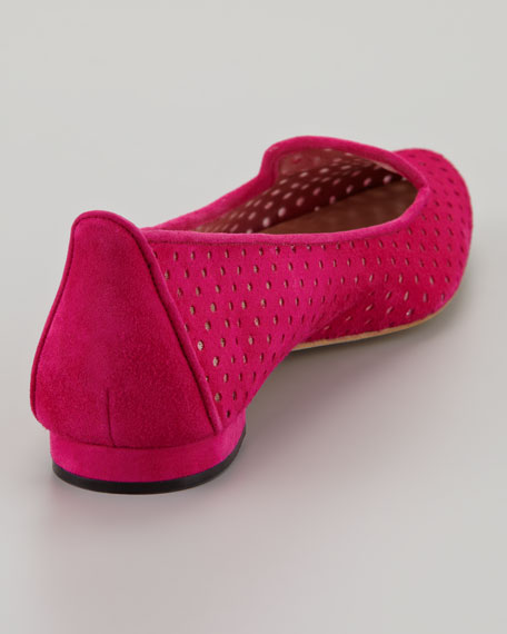 Sharifac Perforated Suede Flat, Fuchsia