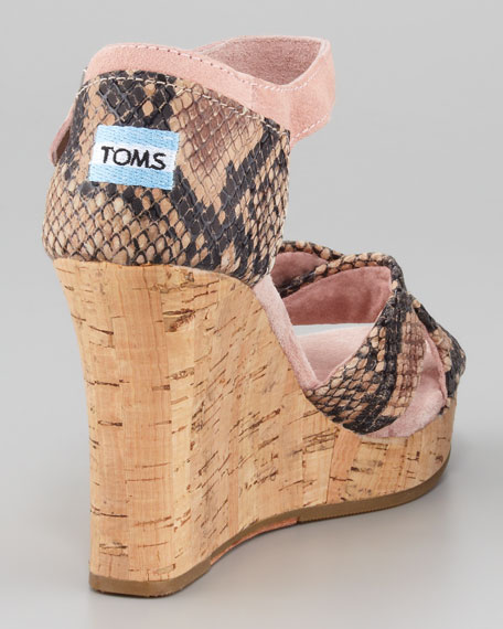 Snake-Embossed Leather Cork-Wedge Sandal, Rose Serpentine