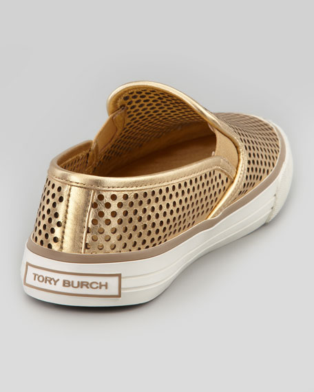Miles Perforated Slip-On Sneaker, Gold