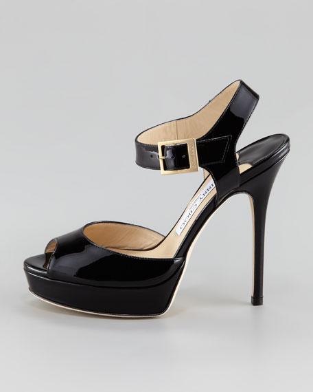 Linda Patent Ankle Strap Sandal, Black