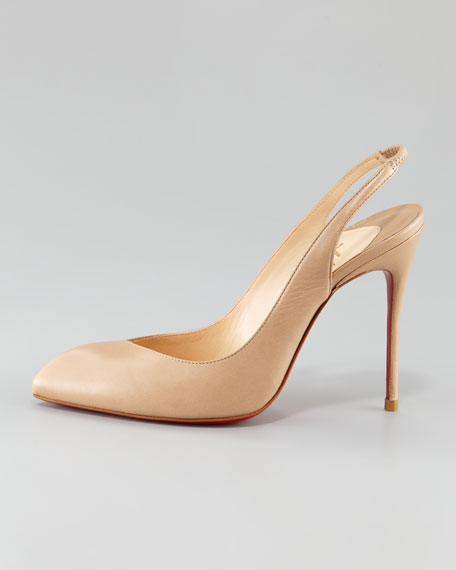 Corneille Asymmetric Red Sole Slingback, Beige