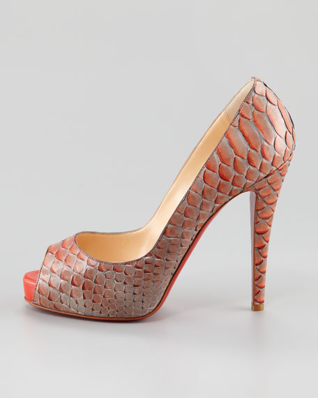 Very Prive Python Red Sole Pump, Mandarin Red
