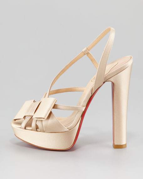 Disco Noeud Satin Platform Red Sole Sandal, Champagne