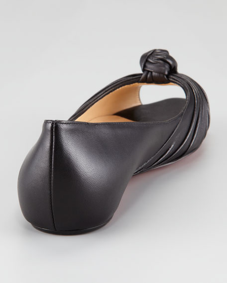 Turban Knot-Toe Leather Red Sole Flat