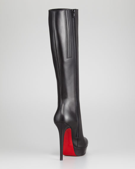 christian louboutin bianca leather knee-high boots