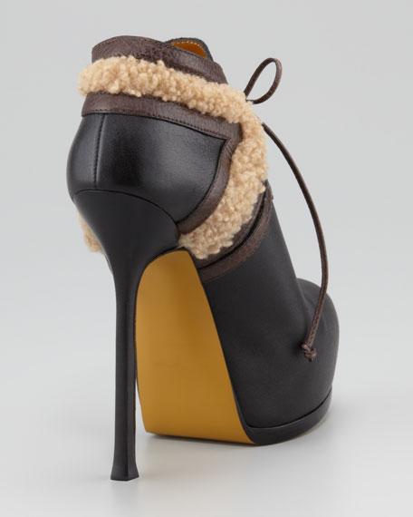Tribtoo Fur-Trim Ankle Bootie