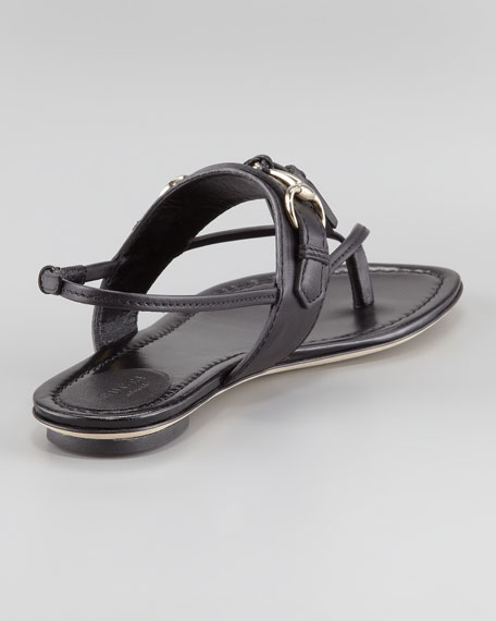Horse Bit & Tassel Thong Sandal