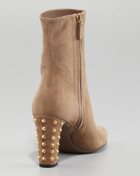 Jacquelyne Stud-Heel Boot, Dark Brown