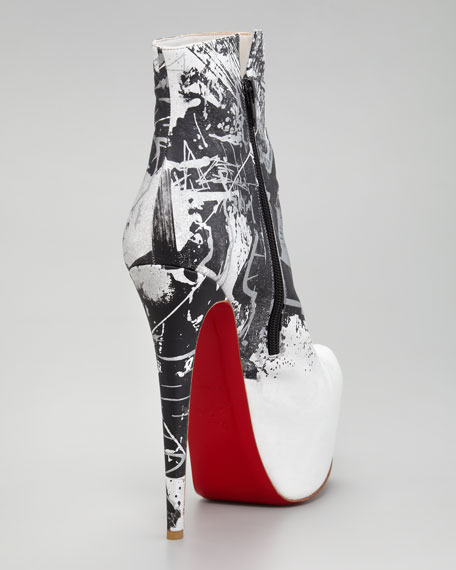 Daf Red Sole Booty Graffiti Red Sole Ankle Boot