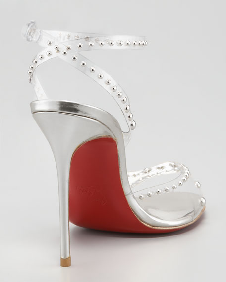 Icone A Clous Red Sole Sandal, Silver