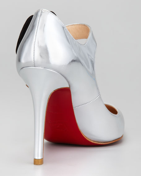 Pensee Mary Jane Flower Red Sole Pump, Silver