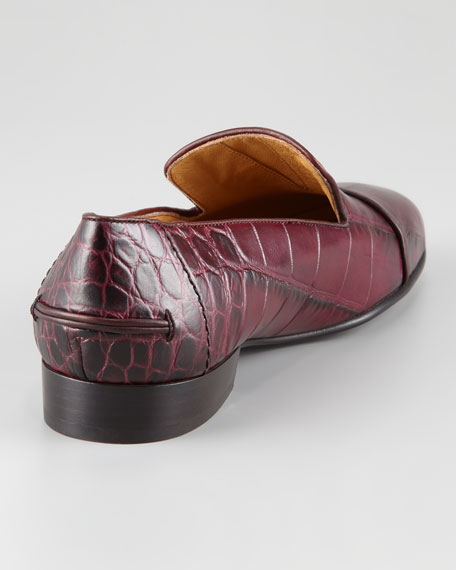 Crocodile-Embossed Slipper
