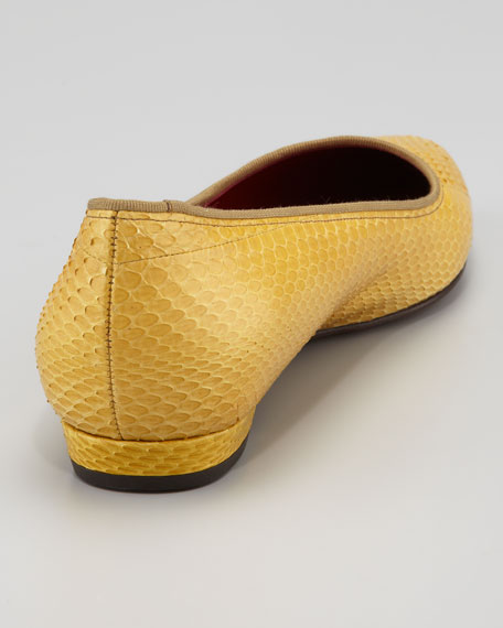 Pointed-Toe Snakeskin Flat, Yellow