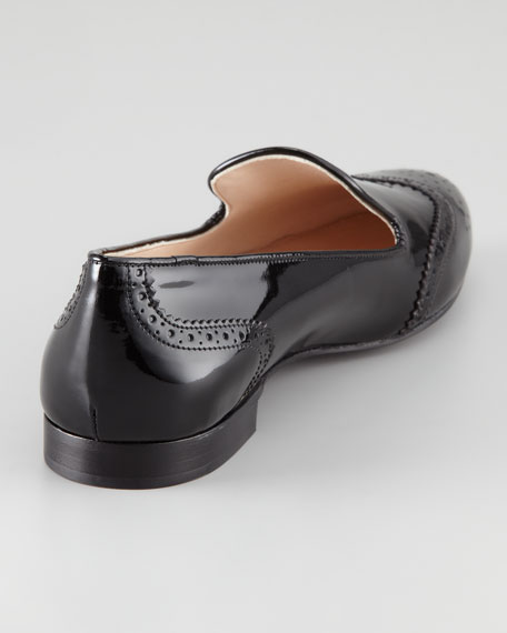 Patent Leather Wing-Tip Slipper