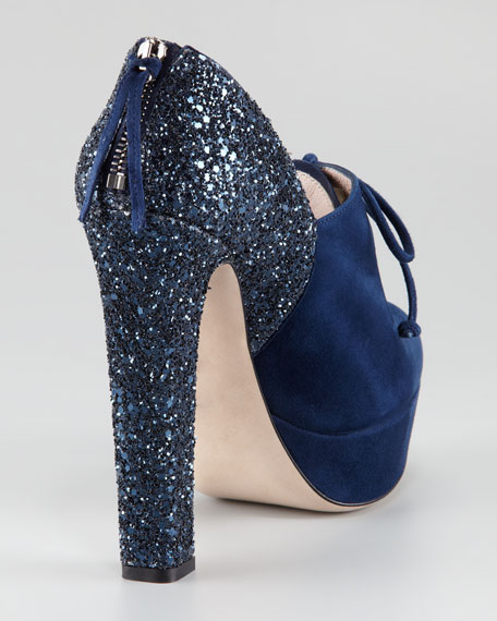 Glitter-Heel Lace-Up Bootie