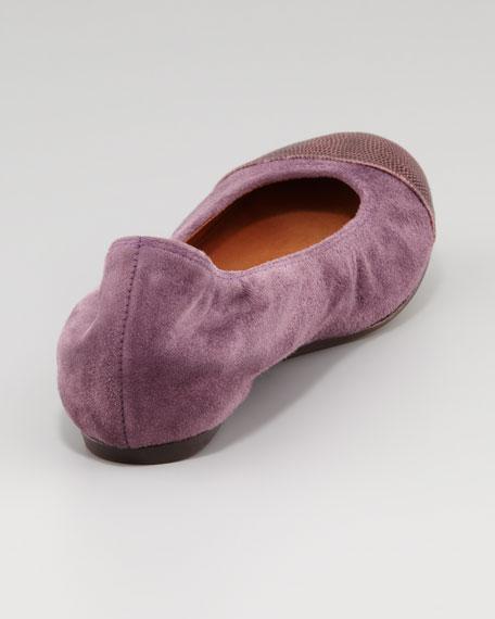 Lizard Cap-Toe Ballet Flat, Prune