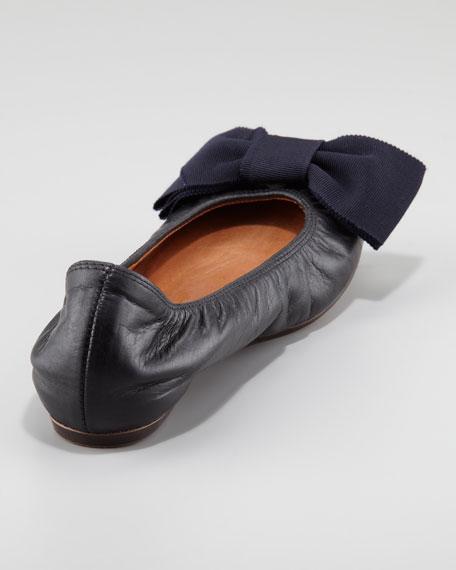 Grosgrain-Bow Leather Ballerina Flat, Black