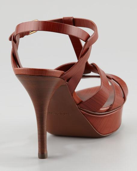 Tribute Platform T-Strap Sandal, Cuoio